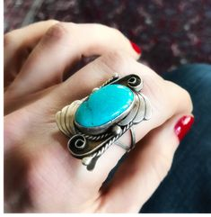 ✨Just listed in sugardrawers.etsy.com Vintage Navajo Turquoise and Sterling Silver Ring - Vintage Ring, Rings, Old Pawn Navajo Turquoise Ring by Artisan Delvin J. Nelson ✨