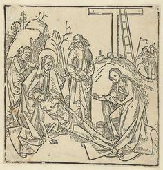 Anonymous | De bewening van Christus, Anonymous, 1490 - 1510 | De dode Christus in de armen van Maria, Maria Magdalena aan zijn voeten. Johannes met boek onder de arm en een vrouw kijken toe. Op de achtergrond kruis.
