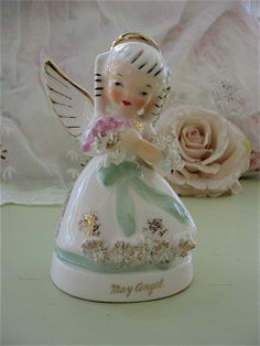 Napco May Birthday Angel Vintage Birthday month by Fannypippin,