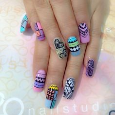 Like these xx Crazy Nail Designs, Different Nail Designs, Nail Art Designs, Get Nails, Love Nails, Hair And Nails, Fancy Nails, Cute Nail Polish, Gel Nail Art