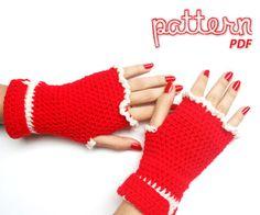 Crochet Pattern Christmas Fingerless Mitten