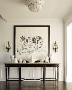 console | candle sconces | black and white