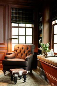 ML Interior Design: Masculine den with plain roman shades, cherry wood paneled walls, built-in window seat, ...