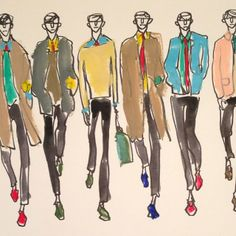 .@donalddrawbertson | Don't usually paint the men's shows but Burberry was cool. | Webstagram