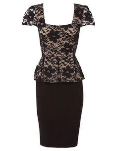 BASQUE lace peplum dress