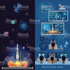Space mission control center banner, start rocket in space royalty-free stock vector art