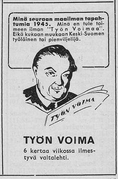 Jyväskylässä ilmestyneen lehden mainos Työväen Kalenterissa 1945