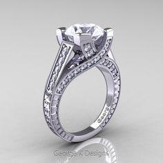 Classic 14K White Gold 3.0 Ct White Sapphire Diamond Engagement Ring R364-14KWGDWS | Art Masters Jewelry
