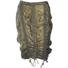 Preowned Omo Norma Kamali Parachute Skirt ($1,600) ❤ liked on Polyvore featuring skirts, grey, gray skirt, grey skirt and norma kamali