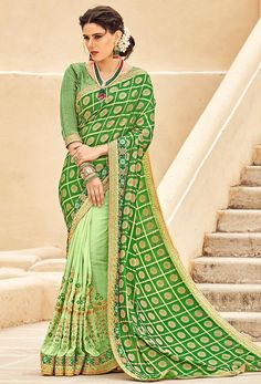 #green #salwar #kameez dupatta mostly liked by #fair #girls or #womens, #Pakistani #loves to wear green suits, #Nikvik.com is the best seller of green #suits and pakistani #dresses South Silk Sarees, Art Silk Sarees, Georgette Fabric, Georgette Sarees, Green Saree, Green Blouse, Saree Shopping, Designer Sarees Online, Embroidered Clothes