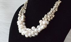 Pearl Statement Necklace Pearl and Gold by QueenieJewelryStore