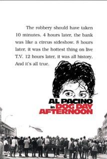 Dog Day Afternoon (1975)  A man robs a bank to pay for his lover's operation; it turns into a hostage situation and a media circus.    Director: Sidney Lumet  Stars: Al Pacino, John Cazale and Penelope Allen