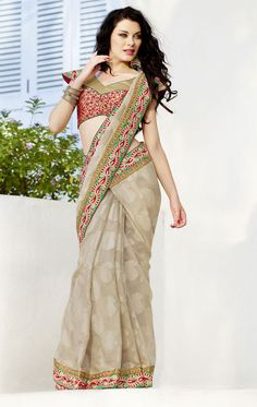 Beige Color Indian Designer #Saree With Blouse