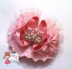 Pink Crown OTT bow princess boutique bow by LittleAsBowtique, $17.00