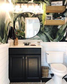 43 Ideas Living Room Wallpaper Ideas Home Decor Mirror Tropical Bathroom, Small Bathroom, Bathroom Ideas, Bathroom Black, Bath Ideas, Bathroom Inspiration, Palm Tree Bathroom, Redo Bathroom, Black Bath