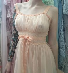 there is no love like the one I have for vintage nighties ~ soft sheer sweet lolita peachy pink nylon lace pastel grunge goth kawaii peignoir angelic nightgown babydoll dolly pinup fashion
