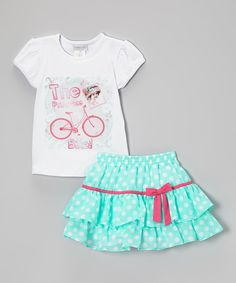 Look at this White & Blue Nati Tee & Polka Dot Skirt - Infant, Toddler & Girls on #zulily today!