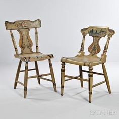 Two Paint-decorated Tablet-back Chairs, probably Pennsylvania, c. 1825-35, each painted white overall with shaped crests, plank seats, and turned legs and stretchers, one decorated with a farm landscape in the tablet, the other with stylized foliate spray, (paint wear and imperfections), ht. to 32 1/2, seat ht. to 18 in.  Estimate $300-500  SKINNER Auctions