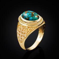 Gold Jerusalem Cross Blue Copper Turquoise Statement Ring