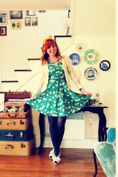 small town, big smile - trollied dolly dress, teal and mustard, gray tights Retro Fashion, Girl Fashion, Vintage Fashion, Only Fashion, Plus Size Fashion, Dolly Dress, Black One Piece Swimsuit, My Style, Indie Style