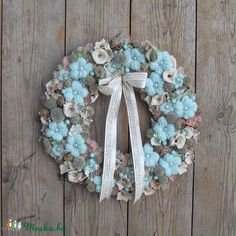 Üde- ajtódísz, Dekoráció, Otthon, lakberendezés, Falikép, Meska Summer Wreath, Hanukkah, Easter, Wreaths, Spring, Diy, Design, Home Decor, Decoration Home