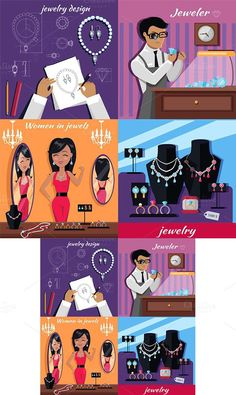 Jewelry Banner Concept Design Flat. Clothes Icons. $7.00