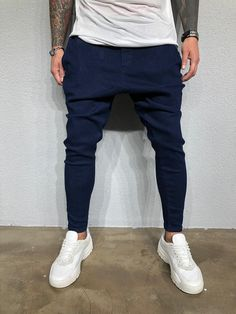 premium selection 20ba8 5af6a Navy Baggy Denim BL401 Streetwear Jeans Great quality spandex denim with  excellent flexibility Machine-wash