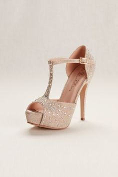 Love these! <3 Shimmering stiletto heel. Adjustable buckle closure.  Synthetic/textile upper. Heel height: 5 inches. Platform: 1 1/4 inches.  Imported. Color: Nude Metallic