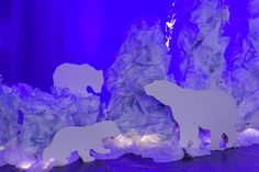 Polar bear silhouettes on scrunched paper ice bergs at #OperationArctic #AnswersVBS #vbs2017