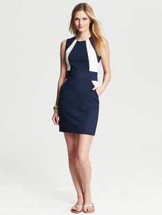 Banana Republic | Navy Colorblock Sheath