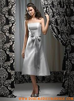 722a06463e0 Argenté sans bretetelle ligne A ceinture satin robe demoiselle d honneur  Tea Length Bridesmaid Dresses