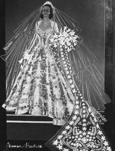 Take a look at the 'Hartnell design for wedding dress of Princess Elizabeth 1947 - Sketch by Norman Hartnell' prints from Media Storehouse Queen Elizabeth Wedding, Queen Elizabeth Ii, Royal Brides, Royal Weddings, Princess Wedding Dresses, Wedding Gowns, Facts About Queen Elizabeth, Princesa Elizabeth, Norman Hartnell