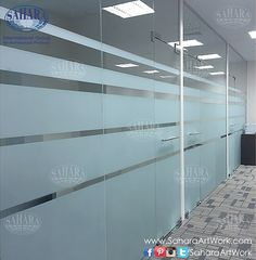 saharaartworkOffice door and partitions, made from clear glass & sandblasted stripes with ROYAL handles & accessories
