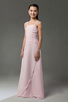 Blushing Pink Column Square Spaghetti Straps Chiffon Junior Bridesmaid Dress 69.99