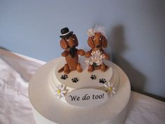 Dachshund dogs Wedding Cake topper red clay handmade by PawsnClaws