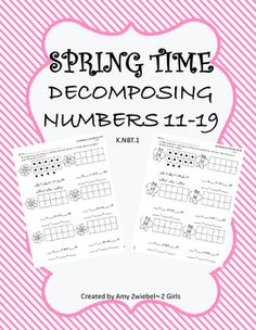 These is a worksheets for students to work on K.NBT.1 decomposing teen numbers 11-19. These cute worksheets will give students an opportunity to work on how many numbers go on the 10's frame and how many are off of the 10's frame. As well as, write a number sentence.