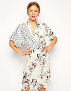 Enlarge ASOS Pencil Dress with Drape Top in Floral and Bird Print- shower dress?