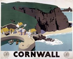 Vintage travel poster produced for the Great Western Railway GWR promoting rail travel to the county of Cornwall from Paddington Station London National Railway Museum, Fine Art Prints, Canvas Prints, British Rail, British Isles, Railway Posters, Train Posters, Into The West, Cornwall England