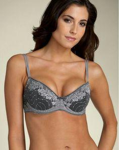94942e6159805 Wacoal 853168 34C Absolute Elegance Black Gray Silver Lace Contour Bra NEW   Wacoal  Contour