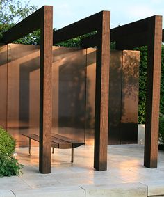 Garden Design Ideas : Wall cladding // Ulf Nordjfell, Chelsea Flower Show 2013 Modern Pergola, Outdoor Pergola, Diy Pergola, Pergola Kits, Outdoor Rooms, Outdoor Living, Landscape Structure, Landscape Architecture, Landscape Design