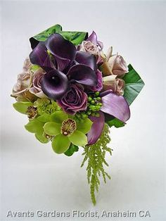 Bouquets | ... Floral Design Gallery - Anaheim, CA : Plum and Green Wedding Bouquetl