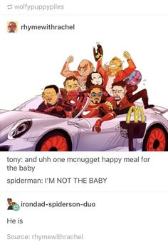 & rhymewithrachel tony: and uhh one mcnugget happy meal for the baby spiderman: I'M NOT THE BABY b irondad-spiderson-duo - iFunny :) Marvel Avengers, Marvel Jokes, Avengers Memes, Marvel Funny, Marvel Dc Comics, Marvel Heroes, Baby Avengers, Marvel Villains, Marvel Universe