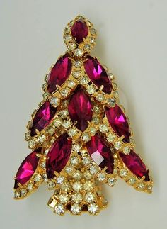 Bauer Ruby Navette Christmas Tree Figural Pin Brooch