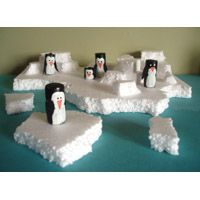"Play penguins on ice! (kid soup) Great way to reuse styrofoam in imaginative play. For themed play add ""Penguin Pre-K"" iPad app https://itunes.apple.com/us/app/penguin-pre-k-preschool-numbers/id641437928?mt=8"