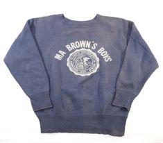 """60's """"MA BROWN'S BOYS"""" ナス紺 カレッジスウェット 実寸(M位)"""