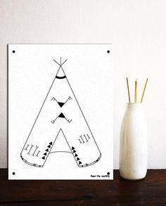 TeePee Printable, Kid's Decoration, Tee Pee Tent, Children's Art Printables, Tribal Nursery Decor, Black and White, 8x10, PDF, DIY