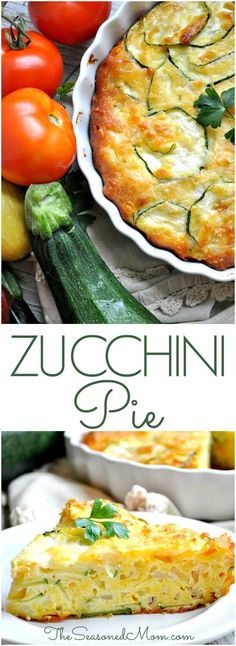 Are you on zucchini overload? Don't miss this easy Zucchini Pie, which is the most delicious way to enjoy fresh summer produce! With only about 15 minutes of preparation time, you can have a fancy and tasty side dish to serve with some grilled meat, or a vegetarian main course option that will satisfy even the heartiest appetites. Side Dish Recipes, Vegetable Recipes, Vegetarian Recipes, Cooking Recipes, Healthy Recipes, Pie Recipes, Easy Recipes, Coctails Recipes, Recipes Dinner
