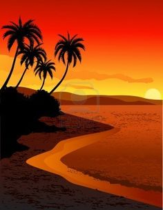 Beautiful tropical beach sunset