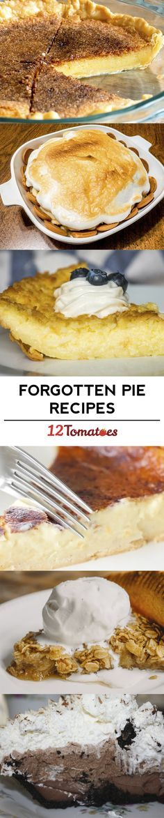 Bring Back These 8 Forgotten Pie Recipes! No Bake Desserts, Just Desserts, Delicious Desserts, Dessert Recipes, Yummy Food, Tart Recipes, Sweet Recipes, Baking Recipes, Just Pies