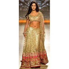@ $347 Katrina Golden Lehenga Choli with FREE stitching and FREE shipping offer.